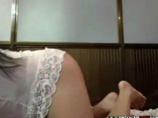 Asiatisch Atemberaubende Mädchen Große Brüste Webcam Striptease